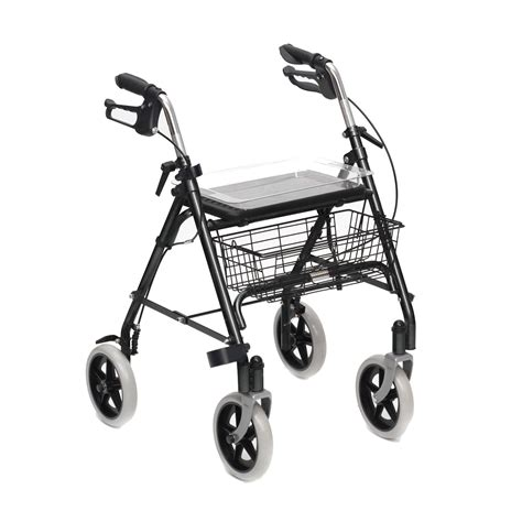 4 wheel walker with seat and basket mobility rollator walking frame 4 wheeled walker with seat