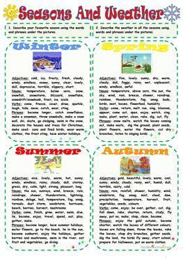 season for 191 free esl seasons worksheets