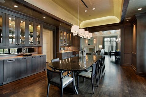 large formal dining room  built  cabinetry
