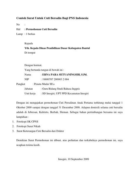 contoh surat untuk cuti bersalin bagi pns indonesia