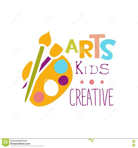 kids logo design stock illustration image of childhood kids creative class template promotional logo with palette
