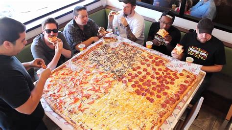 big pizza competitive eaters versus wreckless eaters in big s papa s pizzeria s 54 quot pizza