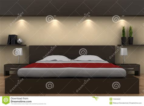 modernes zimmer mit kingsize bett modernes schlafzimmer mit braunem bett stock abbildung