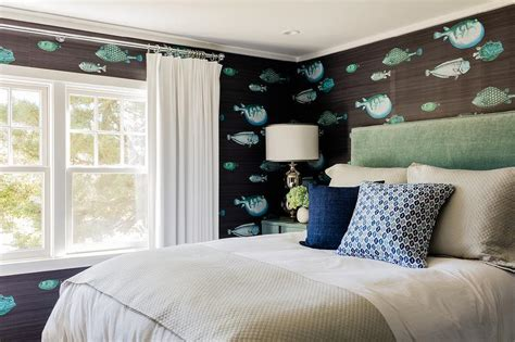 seafoam green headboard koi fish wallpaper design ideas