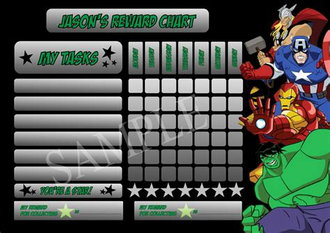 printable avengers reward charts avengers superhero personalised reward chart behaviour