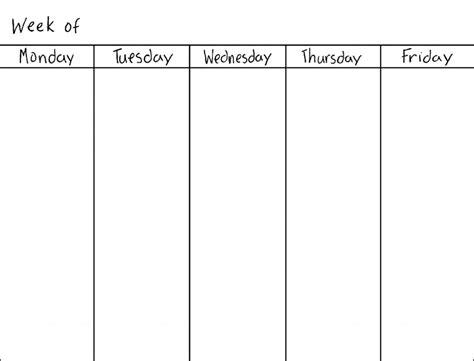 printable calendar 2018 monday through friday monday through friday calendar template printable
