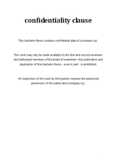 Muster Vwa Sperrvermerk Vertraulichkeitserkl 228 Rung F 252 R Die Bachelorarbeit