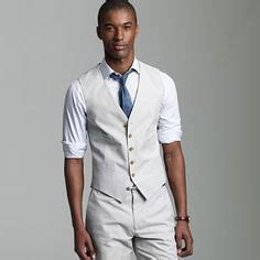 20752 Import Cotton Casual Top Big Stripe grey khaki vest and casual groom attire on