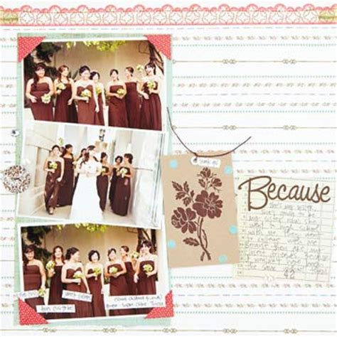 layout of wedding party scrapbooking