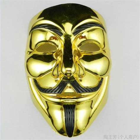 Masker Gold gold silver masks v for vendetta anonymous fawkes mask