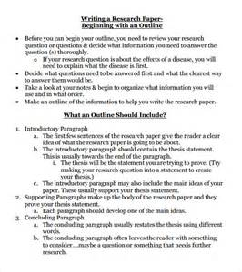 Outline Template For Research Paper by Research Paper Outline Template 8 Free