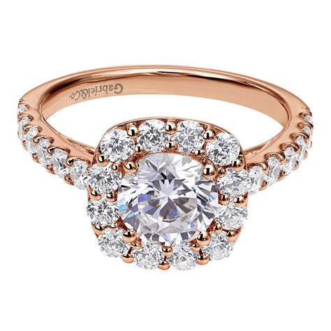 14k pink gold contemporary halo engagement ring wilson