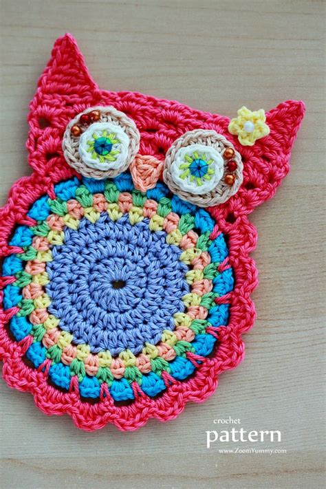 applique teresa new pattern crochet owl coasters appliques