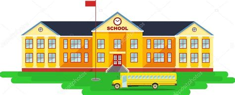 scuola clipart sfondo panoramico con edificio scolastico e scuolabus in