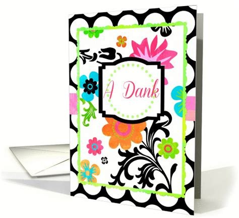 dank yiddish bright floral a dank means thank you in yiddish card 950456