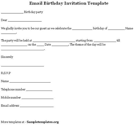 email template  birthday invitation sample  email