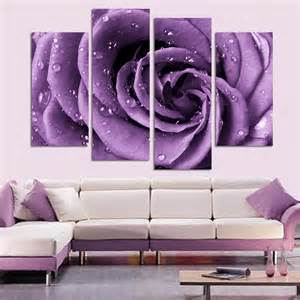 purple home decorations 4 panel set modern abstract beautiful wall art purple rose