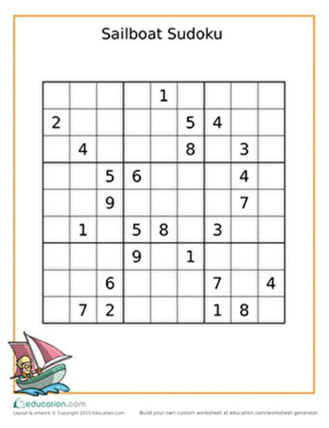 printable sudoku for middle school sailboat sudoku worksheet education com