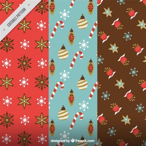 retro christmas pattern vector free set of christmas patterns in retro style vector free