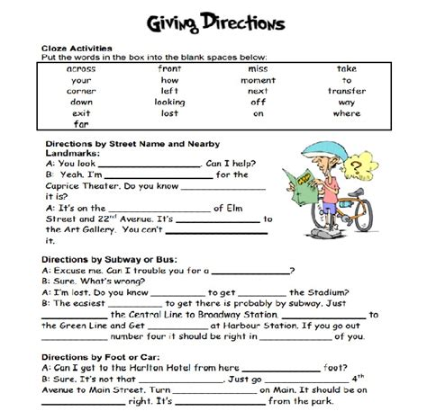 giving directions printable exercises how to give direction giving directions exercices