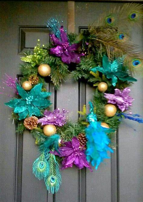 peacock christmas wreath purple teal blue lime green