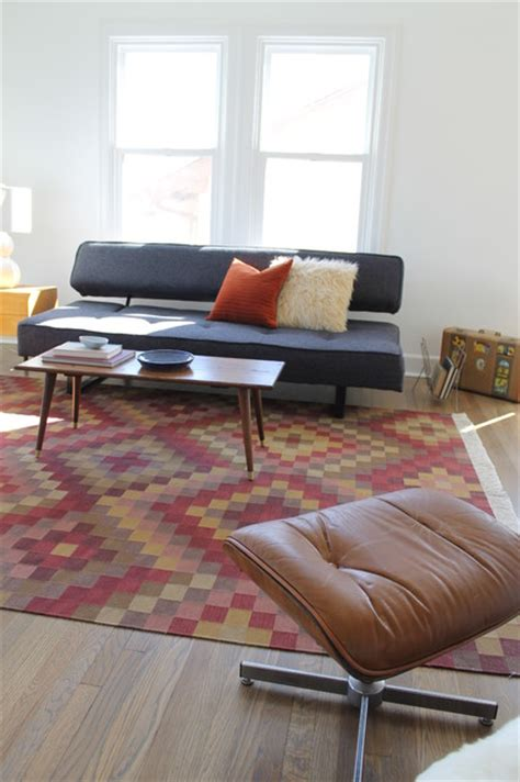 kilim rug  mid century modern vintage coffee table modern living room los angeles