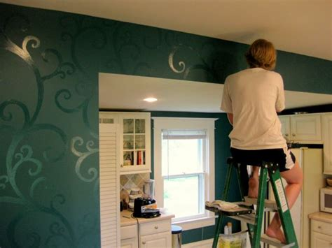 before and after kitchen makeover with patterned walls
