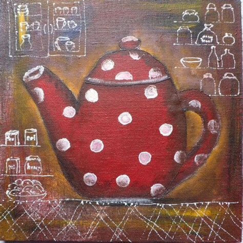 Rubiah Dot Original Sip original painting acrylic on canvas tea pot kettle rustic kitchen decor polka dot brown