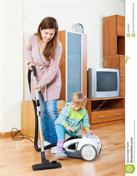 Free Program To Design A Room mother with child cleaning home stock photo image 42494825