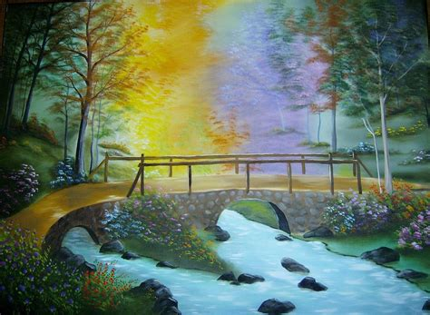 Nature Duvet Cover Bridge Over Troubled Water Painting By Debra Campbell