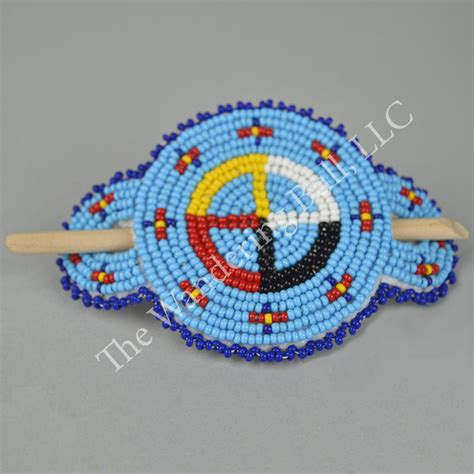 bead barrettes beaded medicine wheel stick barrette wandering bull llc