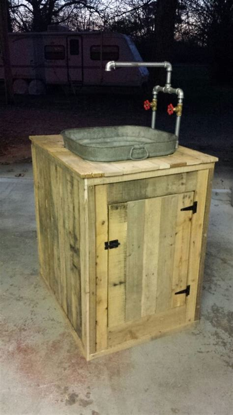 outdoor kitchen sinks ideas build your own unique outdoor sink with an wooden cable spool your projects obn