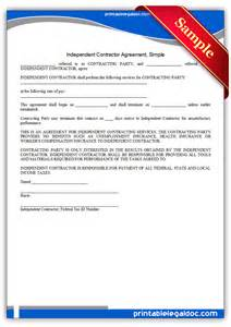 Independent Contractor Agreement Free Template free printable independent contractor agreement simple