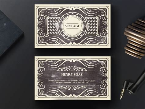 Free Elite Vintage Business Card Template Dribbble Graphics Vintage Card Templates