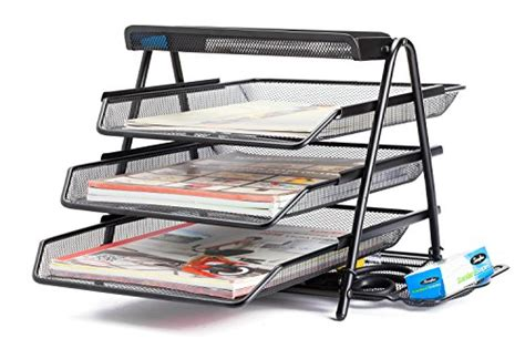 staples black wire mesh 3 tier desk shelf halter steel mesh desktop 3 tier shelf tray organizer
