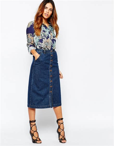 warehouse button through 70s midi denim skirt http bit