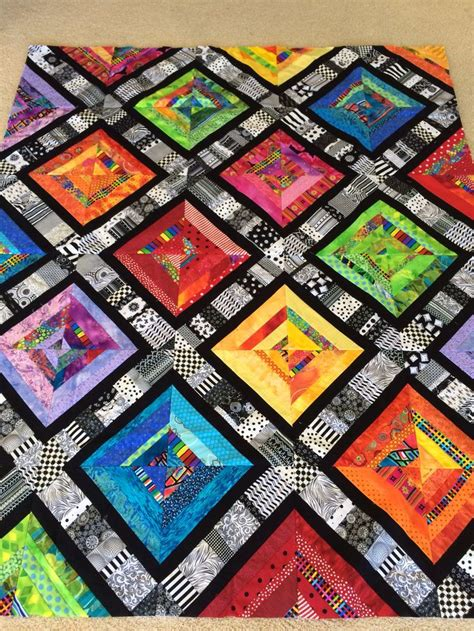 Black Patchwork Quilt - my bright scrappy patchwork quilt made with a of 3