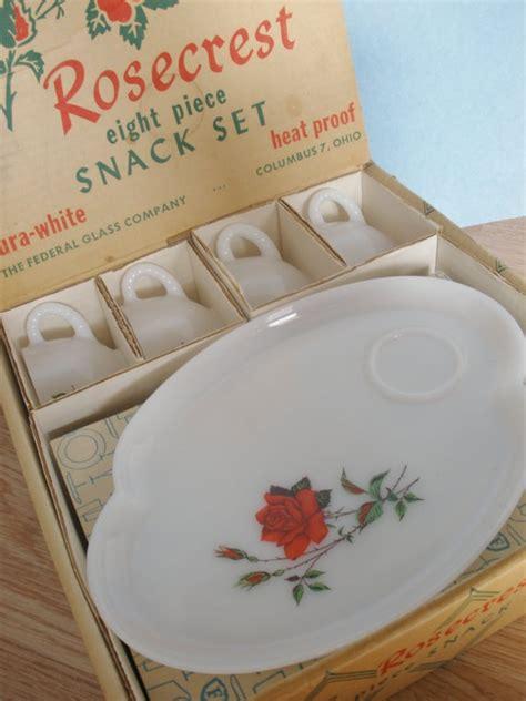 design milk pinterest sale milk glass snack set with rose design 8 by