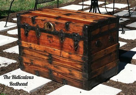 an wood steamer trunk the