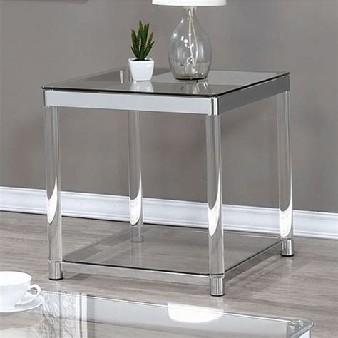 glass top end tables claude chrome glass top end table