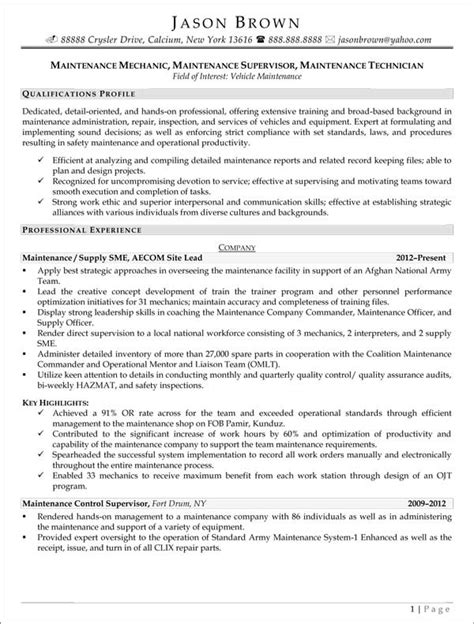 Sle Resume For Janitorial Position by Maintenance Resume Resume Cv Cover Letter