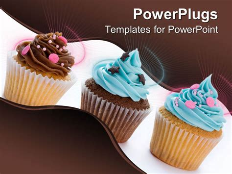 Powerpoint Template Three Different Cupcakes With Colored Frosting Round And Star Shaped Cupcake Powerpoint Template