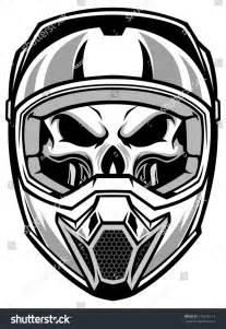 skull motocross helmet skull wearing motocross helmet stock vector 146916113