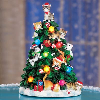 cat first seen christmas tree lighted cat tree figurine from collections etc