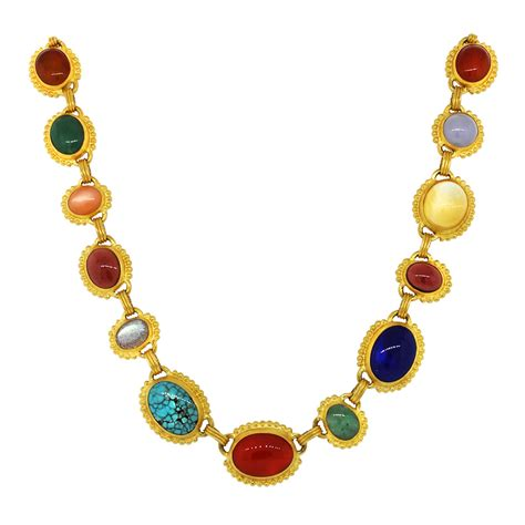Gemstone Necklace gurhan 24k yellow gold multi gemstone granulated necklace