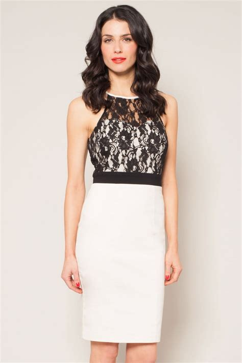 Halter Lace Dress W8255 Black and black lace top halter dress