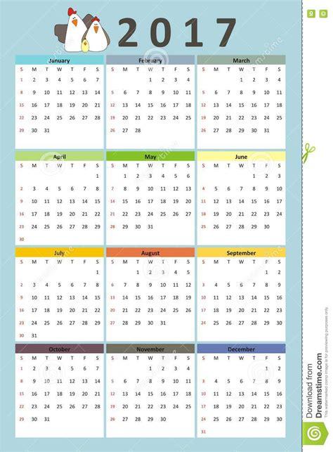 doodle and calendar design calendar 2017 year doodle and hens stock