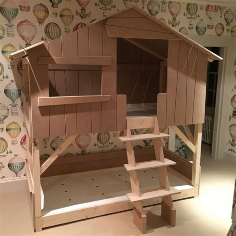 Kids Treehouse Bunk Bed In Natural Pine Mdf Cuckooland Treehouse Bunk Beds