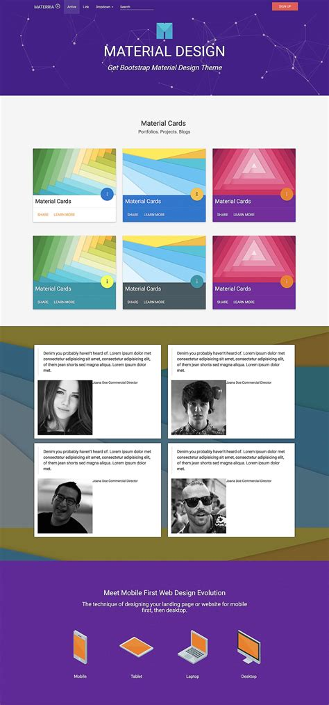 Material Design Free Template Bootstrap Marketplace Material Design Website Template