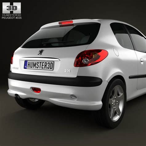 peugeot hatchback models peugeot 206 hatchback 3 door 2005 3d model hum3d